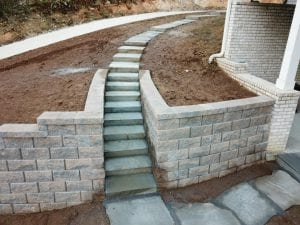 retaining wall and outdoor stairway