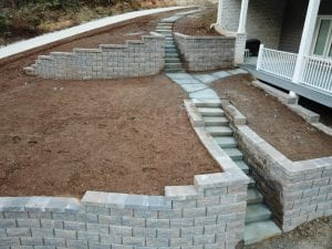 knoxville home with retaining wall and stairway