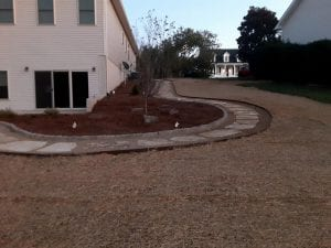 knoxville home with landscaping work being done