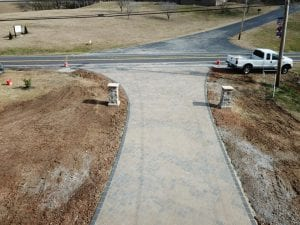aerial shot of brick driveway in knoxville tn