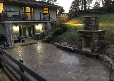 outdoor patio and fireplace