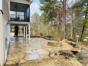 flagstone patio and fireplace in knoxville backyard