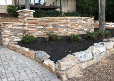 flower bed and retaining wall