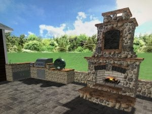 stone backyard patio with fireplace and grill design