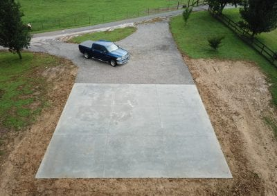 paved concrete driveway under construction