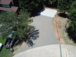 aerial view of paved driveway under construction