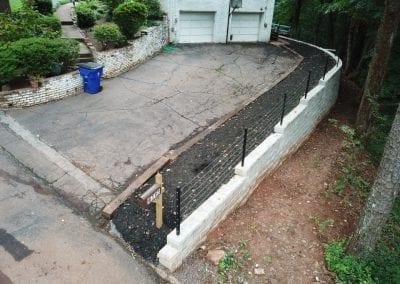 retaining wall under construction