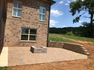 stone patio under construction