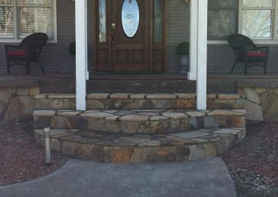 flagstone steps leading to front door